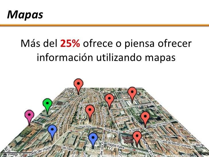 Mapas   Más del 25% ofrece o piensa ofrecer    información utilizando mapas