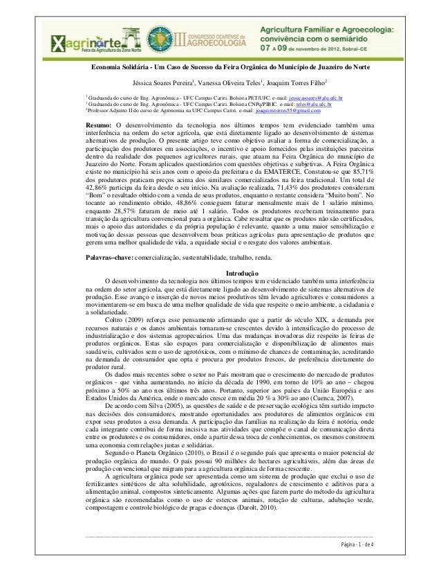 Economia Solidária - Um Caso de Sucesso da Feira Orgânica do Município de Juazeiro do Norte                    Jéssica Soa...