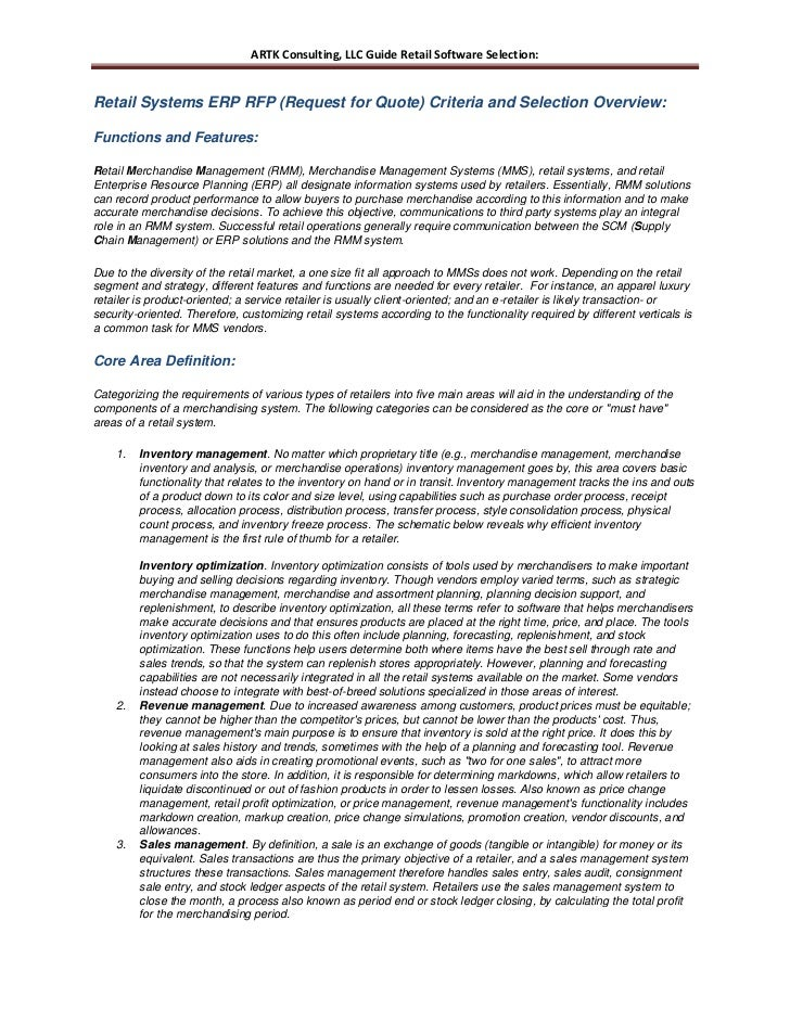 ARTK Consulting, LLC Guide Retail Software Selection:Retail Systems ERP RFP (Request for Quote) Criteria and Selection Ove...