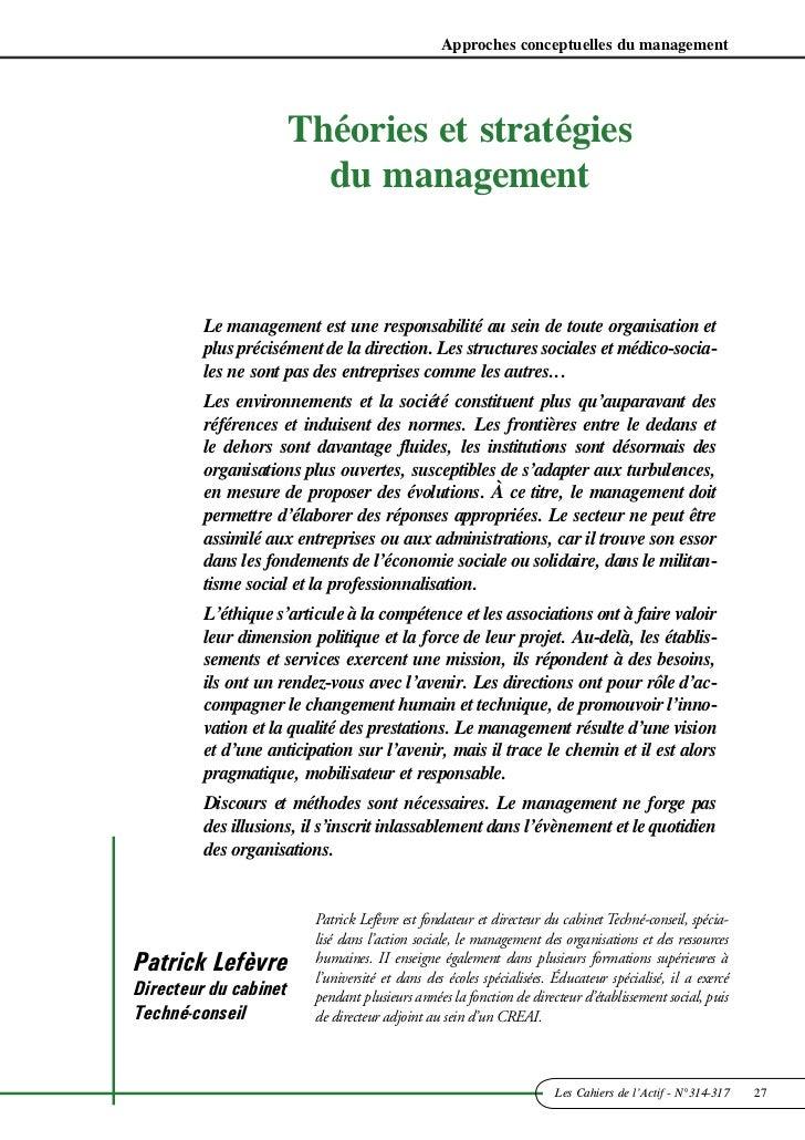 Approches conceptuelles du management                       Théories et stratégies                         du management  ...