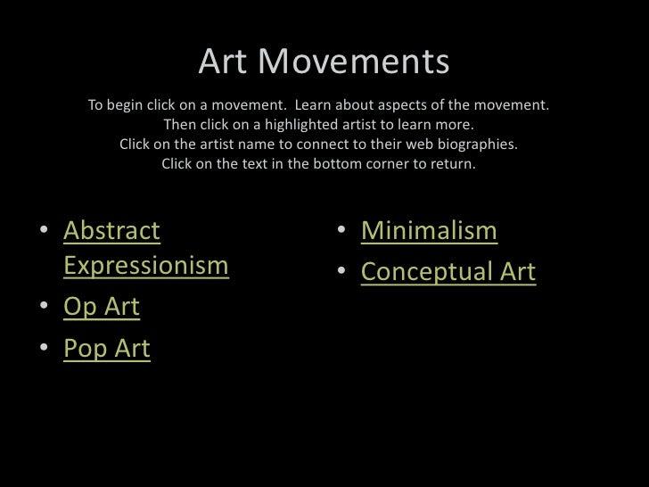 Art movements post wwii for Minimal art slideshare