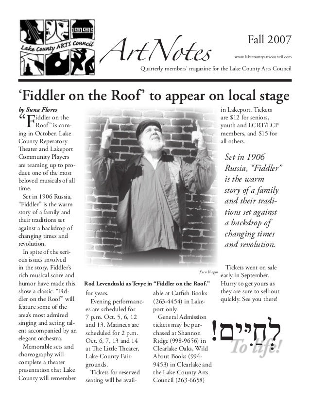 """by Suna Flores""""Fiddler on theRoof"""" is com-ing in October. LakeCounty ReperatoryTheater and LakeportCommunity Playersare te..."""