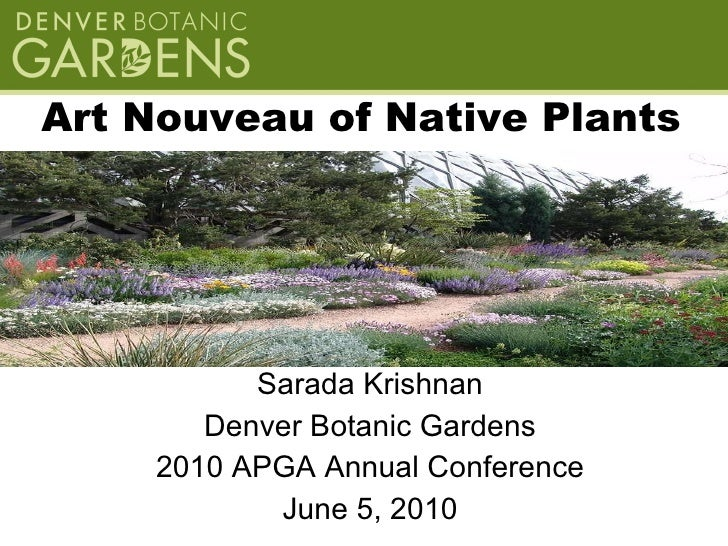 Art Nouveau of Native Plants <ul><li>Sarada Krishnan </li></ul><ul><li>Denver Botanic Gardens </li></ul><ul><li>2010 APGA ...