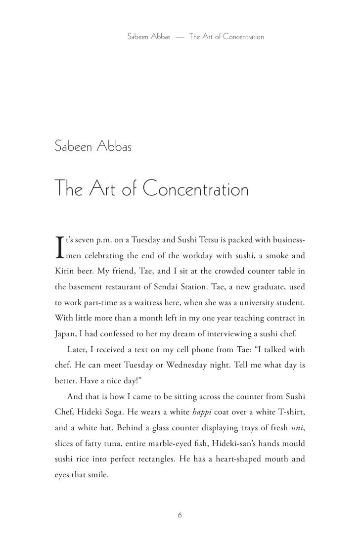 Sabeen Abbas — The Art of Concentration     Sabeen Abbas  The Art of Concentration  I  t's seven p.m. on a Tuesday and Sus...
