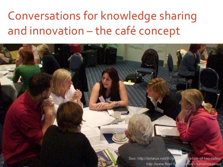 Conversations for knowledge sharing and innovation – the café concept http://www.flickr.com/photos/stephanridgway/ See: ht...