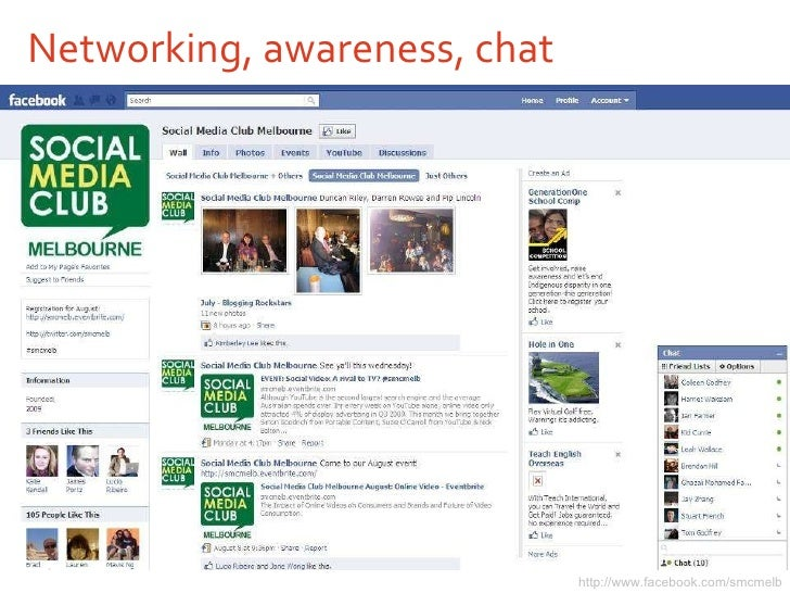 Networking, awareness, chat http://www.facebook.com/smcmelb