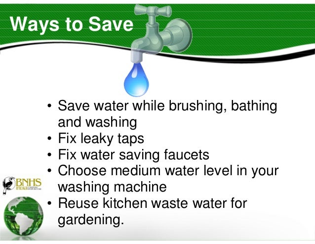 Art of green living bnhs by dr s vaylure of cec for Top 10 ways to conserve water