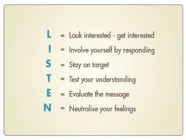 """Listening creates acceptance and openness  …conveys the message that """"I am not judging you."""""""