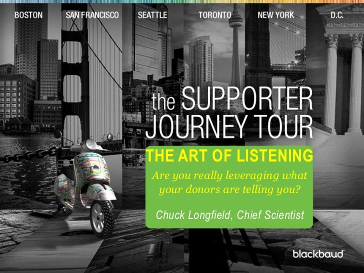 t<br />The Art of Listening <br />Are you really leveraging what your donors are telling you? <br />Chuck Longfield, Chief...
