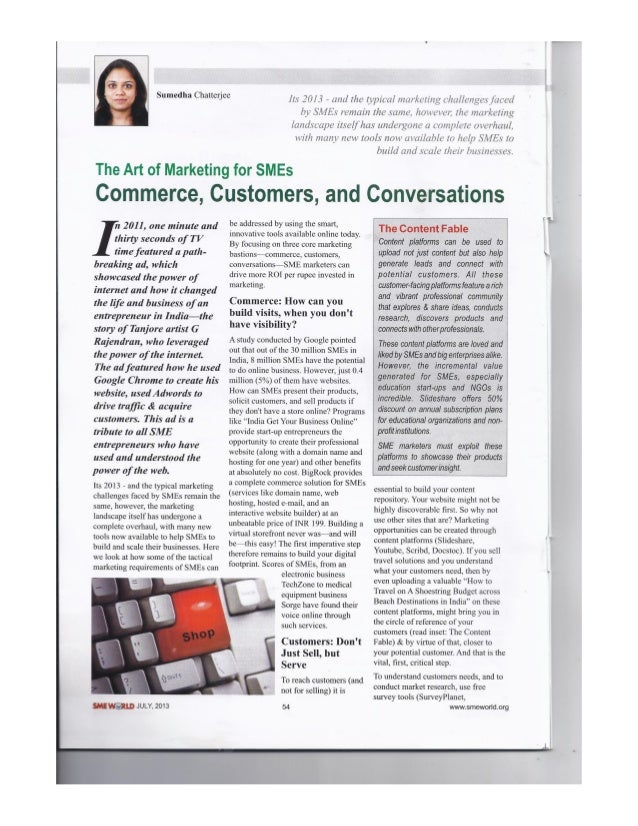 The Art of Marketing for SMEs: Commerce, Customers & Conversations