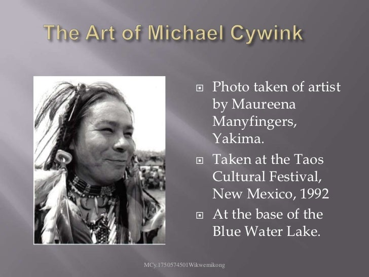 The Art of Michael Cywink<br />Photo taken of artist by Maureena Manyfingers, Yakima.<br />Taken at the Taos Cultural Fest...