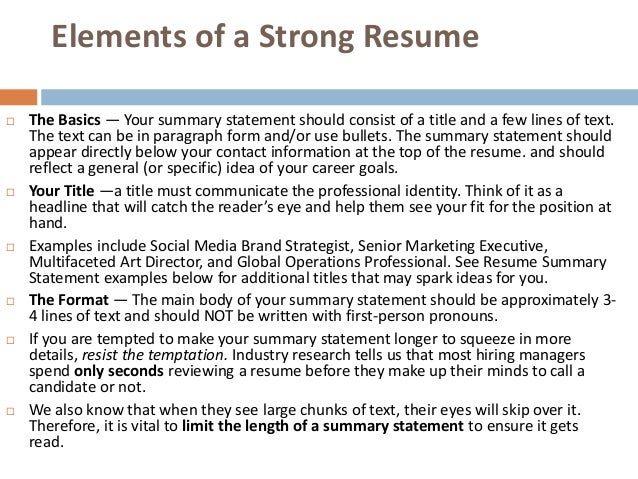 16 writing a strong resume - Strong Resume