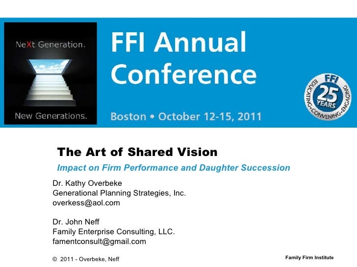 The Art of Shared Vision Impact on Firm Performance and Daughter Succession Dr. Kathy Overbeke Generational Planning Strat...