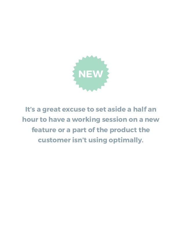 It's a great excuse to set aside a half an hour to have a working session on a new feature or a part of the product the cu...