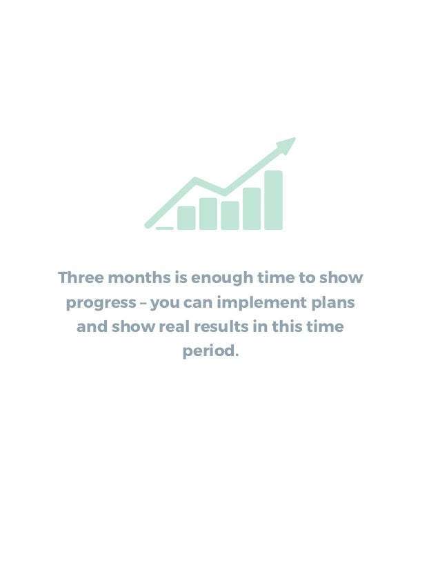 Three months is enough time to show progress – you can implement plans and show real results in this time period.