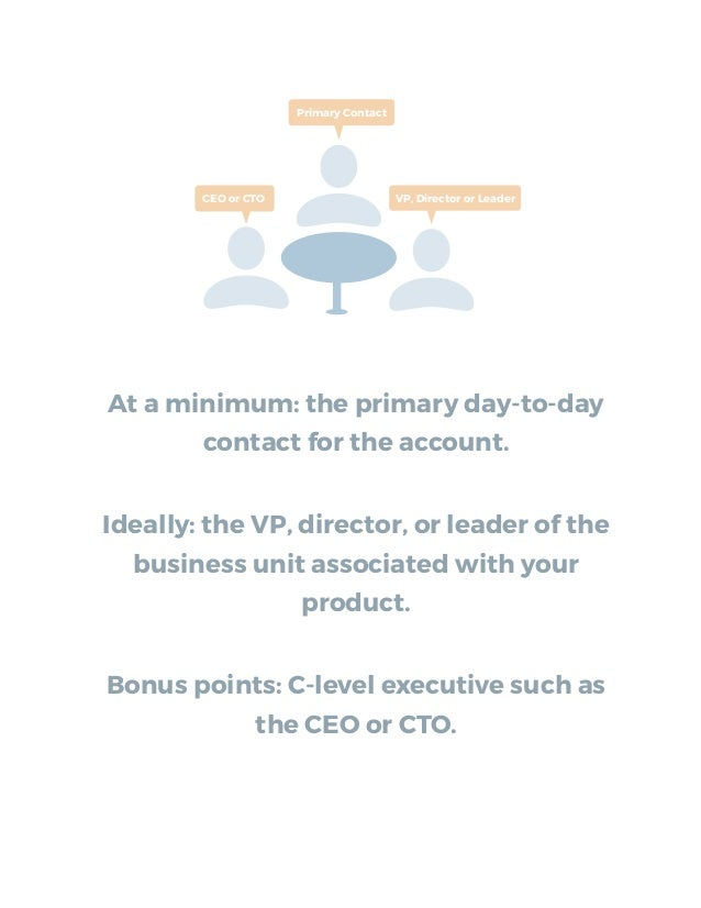 At a minimum: the primary day-to-day contact for the account. Ideally: the VP, director, or leader of the business unit as...
