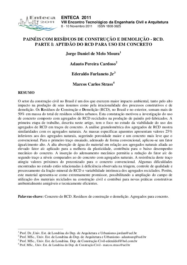 ENTECA 2011                                   VIII Encontro Tecnológico da Engenharia Civil e Arquitetura                 ...