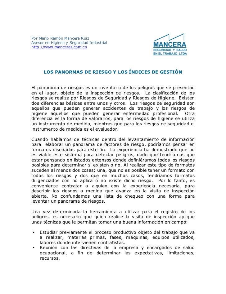 Por Mario Ramón Mancera Ruiz Asesor en Higiene y Seguridad Industrial http://www.manceras.com.co           LOS PANORMAS DE...