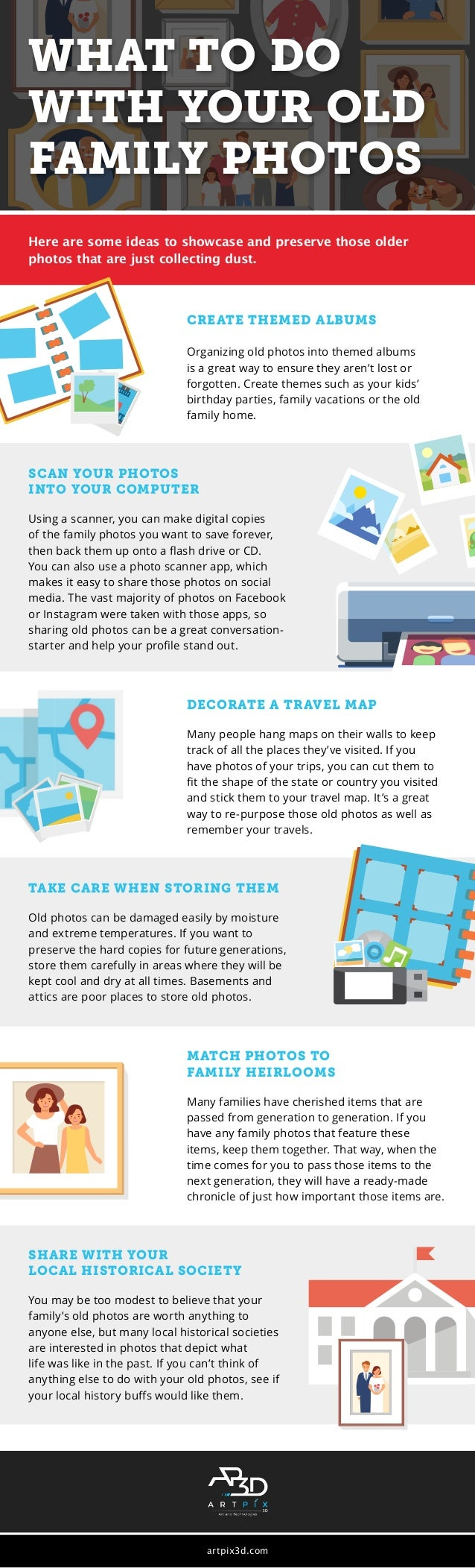 Here are some ideas to showcase and preserve those older photos that are just collecting dust. CREATE THEMED ALBUMS Organi...