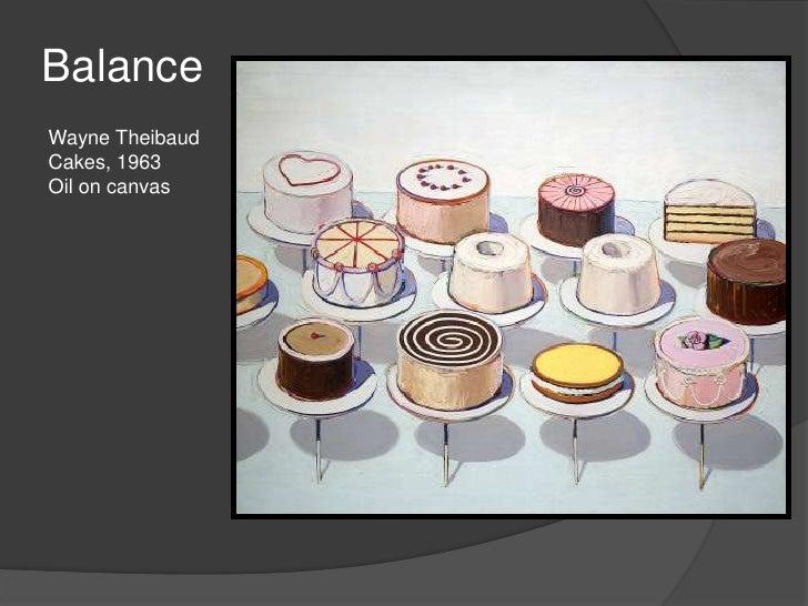 Balance<br />Wayne Theibaud<br />Cakes, 1963<br />Oil on canvas<br />