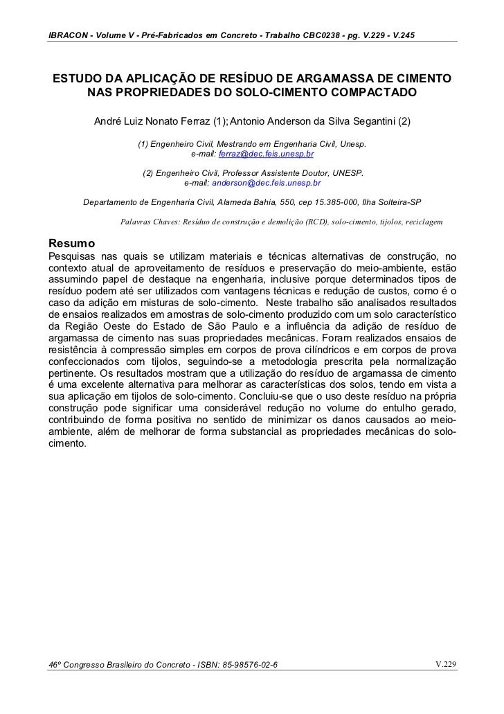 IBRACON - Volume V - Pré-Fabricados em Concreto - Trabalho CBC0238 - pg. V.229 - V.245 ESTUDO DA APLICAÇÃO DE RESÍDUO DE A...