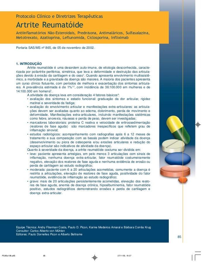 Protocolo Clínico e Diretrizes TerapêuticasArtrite ReumatóideAntiinflamatórios Não-Esteroidais, Prednisona, Antimaláricos,...