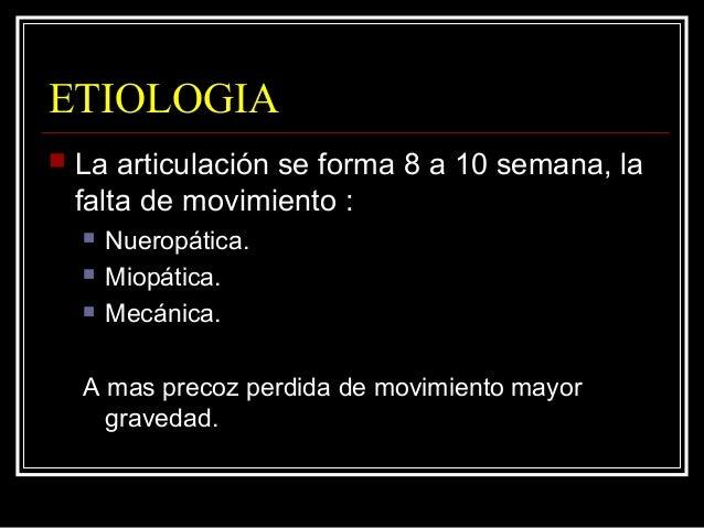 ETIOLOGIA  La articulación se forma 8 a 10 semana, la falta de movimiento :  Nueropática.  Miopática.  Mecánica. A mas...