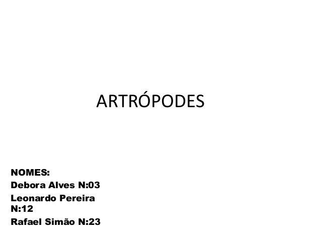 ARTRÓPODES  NOMES: Debora Alves N:03 Leonardo Pereira N:12 Rafael Simão N:23