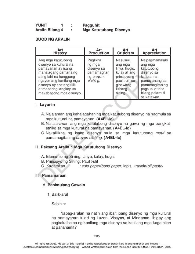 K TO 12 GRADE 4 TEACHER'S GUIDE IN ARTS (Q1-Q4)
