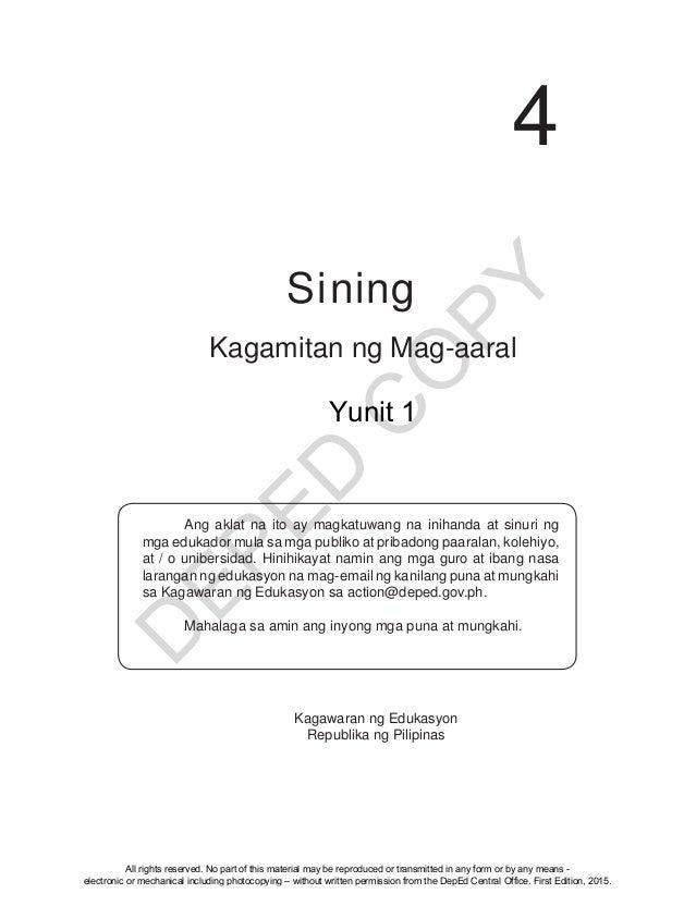 D EPED C O PY 4 Kagamitan ng Mag-aaral Ang aklat na ito ay magkatuwang na inihanda at sinuri ng mga edukador mula sa mga p...