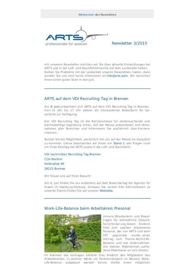 Webversion des Newsletters mit unserem Newsletter möchten wir Sie über aktuelle Entwicklungen bei ARTS und in der Luft- un...
