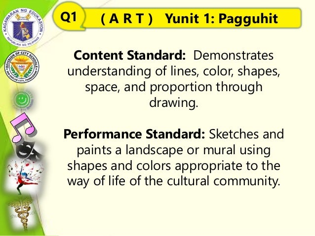 Content Standard: Demonstrates understanding of lines, color, shapes, space, and proportion through drawing. Performance S...