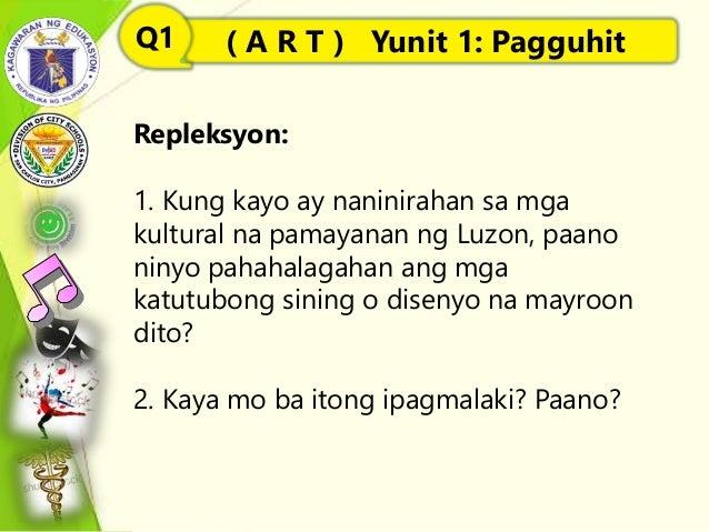 Repleksyon: 1. Kung kayo ay naninirahan sa mga kultural na pamayanan ng Luzon, paano ninyo pahahalagahan ang mga katutubon...