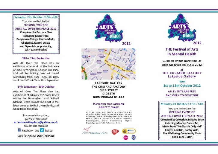 Saturday 13th October 2.00 - 4.00      You are invited to the       CLOSING EVENT OF ARTS ALL OVER THE PLACE 2012    Compè...