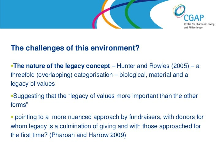 The challenges of this environment?The nature of the legacy concept – Hunter and Rowles (2005) – athreefold (overlapping)...