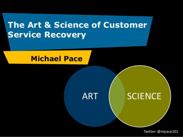The Art & Science of Customer Service Recovery Michael Pace  ART  SCIENCE  Twitter: @mpace101