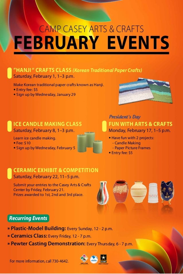 """Camp Casey Arts & Crafts  February EVENTS """"Hanji """" Crafts Class (Korean Traditional Paper Crafts) Saturday, February 1, 1–..."""