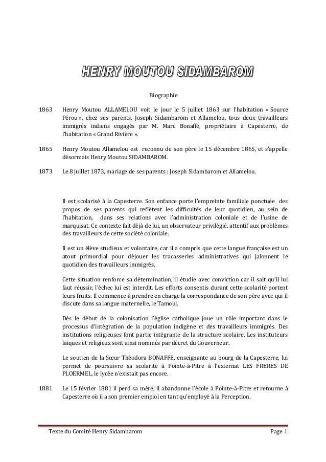 Biographie1863   Henry Moutou ALLAMELOU voit le jour le 5 juillet 1863 sur l'habitation « Source       Pérou », chez ses p...