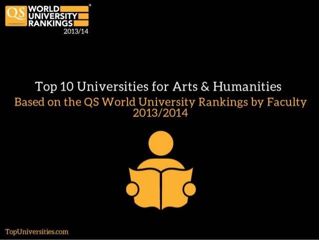 Top 10 Universities for Arts and Humanities