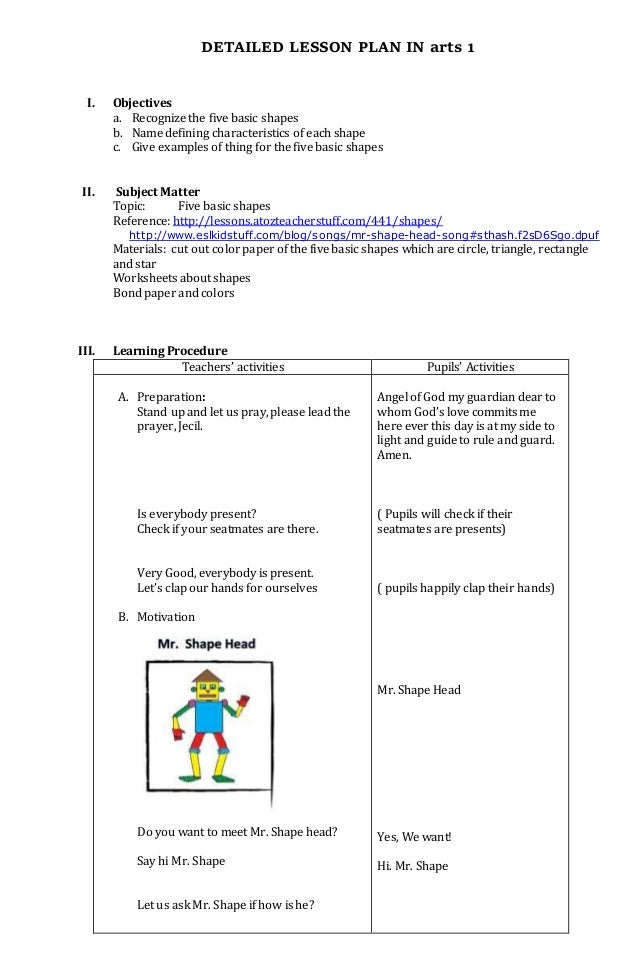 MAPEH arts lesson plan for grade 1-2