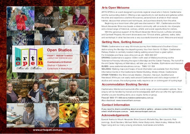 Arts Open Welcome arTS oPEn is an event designed to promote regional visual arts in historic Castlemaine and the surroundi...