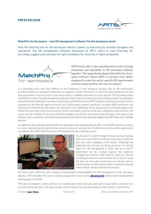 PRESS RELEASE MatchPro for Aerospace – new HR management software for the aerospace sector New HR matching tool for the ae...