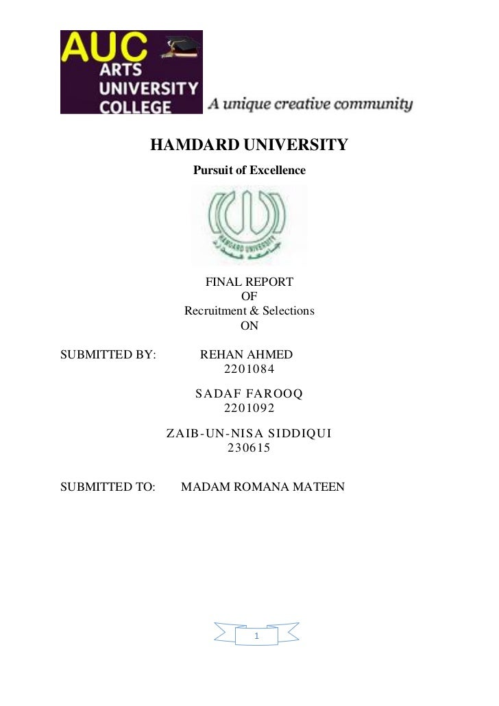 HAMDARD UNIVERSITY                   Pursuit of Excellence                     FINAL REPORT                            OF ...