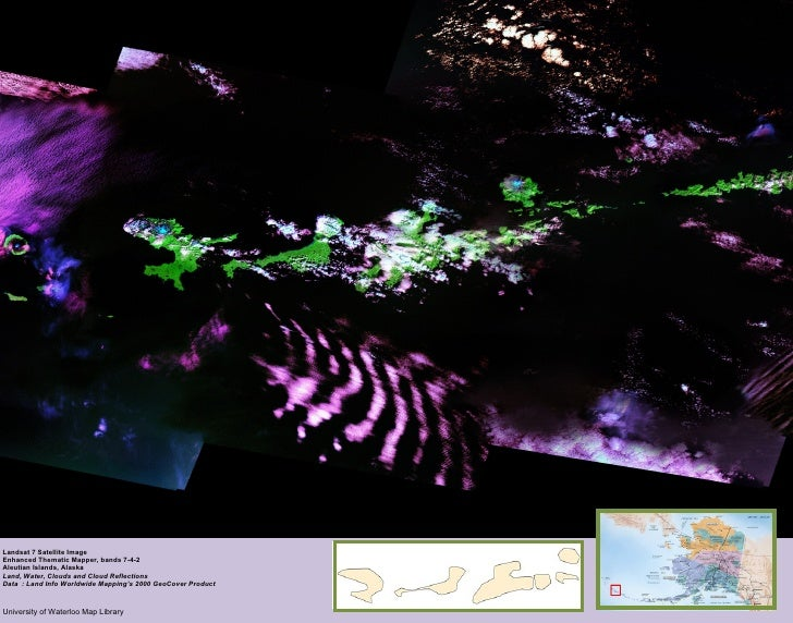 Alaska Landsat 7 Satellite Image Enhanced Thematic Mapper, bands 7-4-2 Aleutian Islands, Alaska Land, Water, Clouds and Cl...