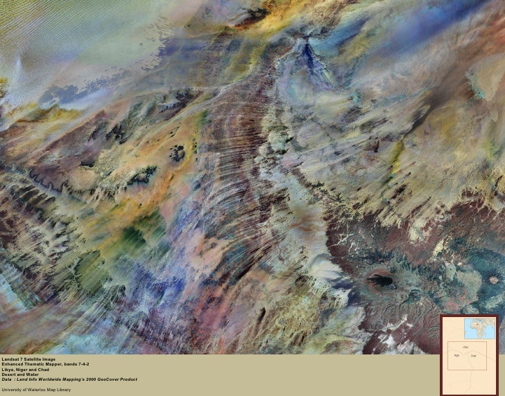 Landsat 7 Satellite Image Enhanced Thematic Mapper, bands 7-4-2 Libya, Niger and Chad Desert and Water Data  : Land Info W...