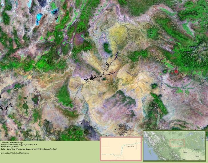 Northern Alberta Landsat 7 Satellite Image Enhanced Thematic Mapper, bands 7-4-2 Peace River, Alberta Data  : Land Info Wo...