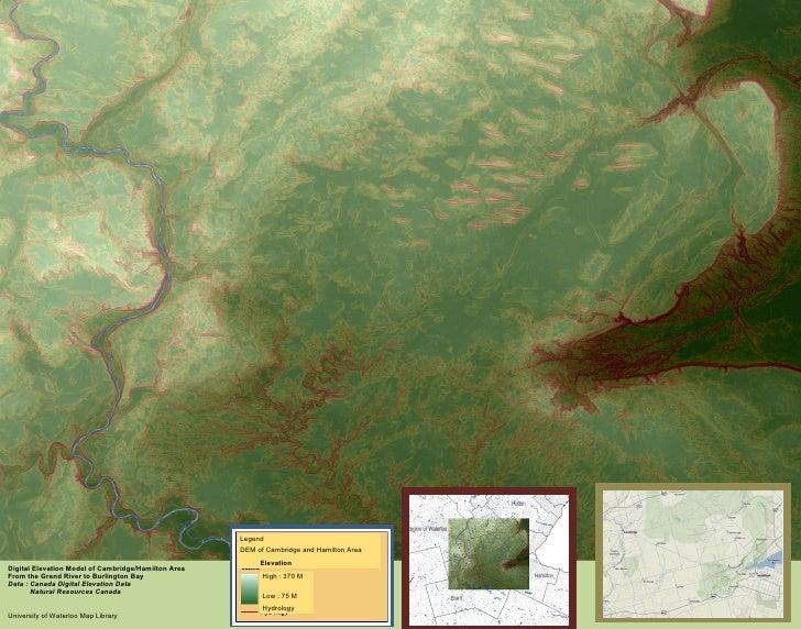 Digital Elevation Model of Cambridge/Hamilton Area  From the Grand River to Burlington Bay Data : Canada Digital Elevation...