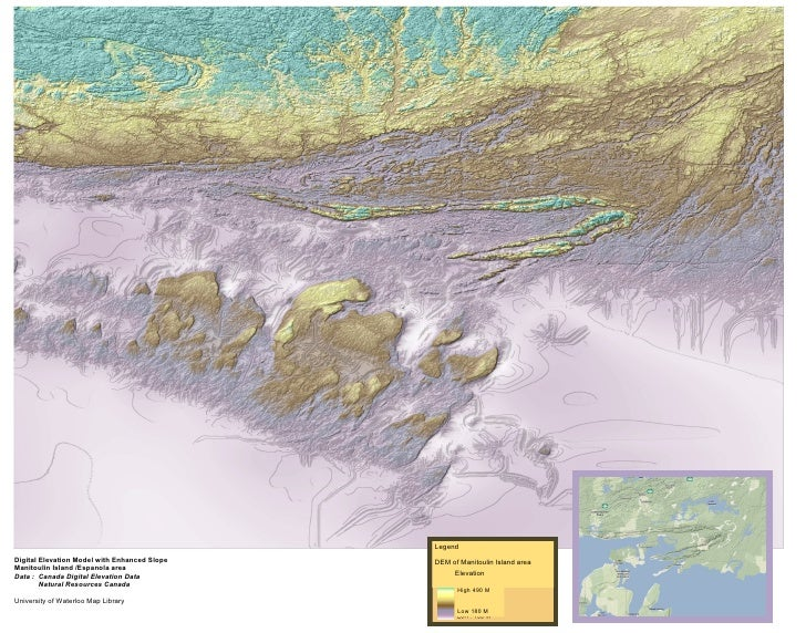 Digital Elevation Model with Enhanced Slope Manitoulin Island /Espanola area Data :  Canada Digital Elevation Data Natural...