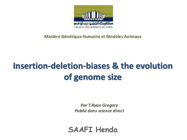 Mastère Génétique Humaine et Modèles AnimauxInsertion-deletion-biases & the evolution             of genome size          ...