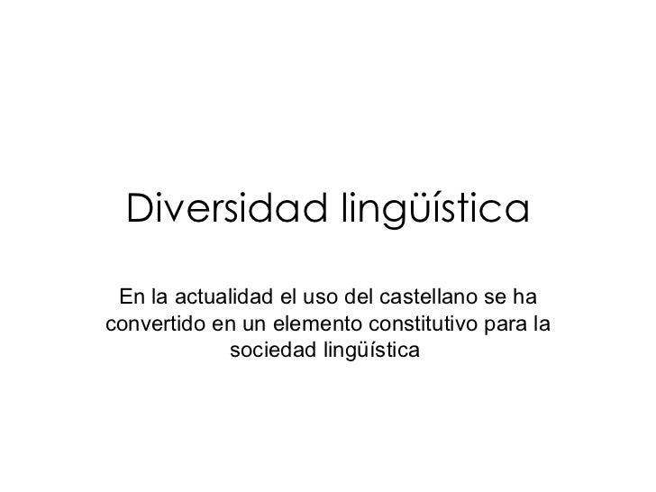 Diversidad lingüística En la actualidad el uso del castellano se ha convertido en un elemento constitutivo para la socieda...